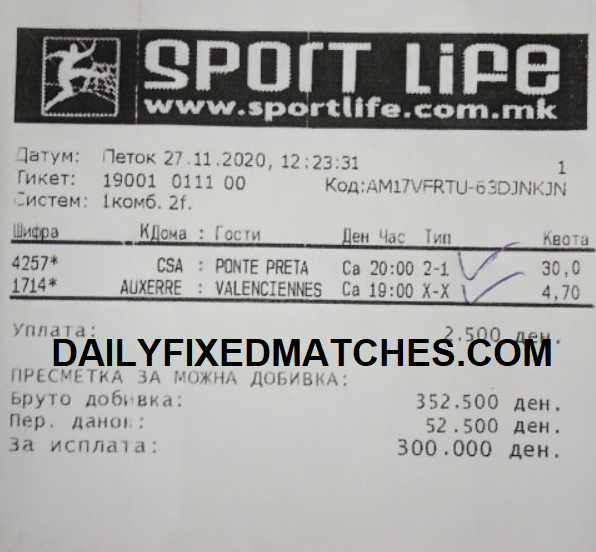 DAILY FIXED MATCHES HALFTIME FULLTIME 28TH NOVEMBER