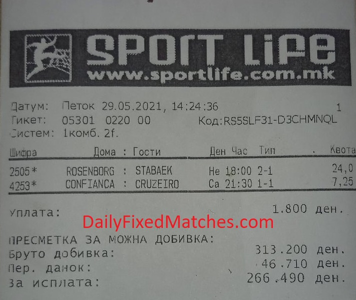 Double fixed matches 29th May 2021